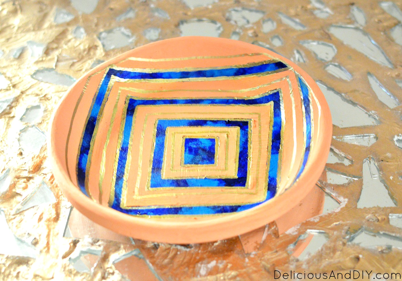 Hand Painted Bowl Makeover {Using Masking Tape} - Delicious And DIY