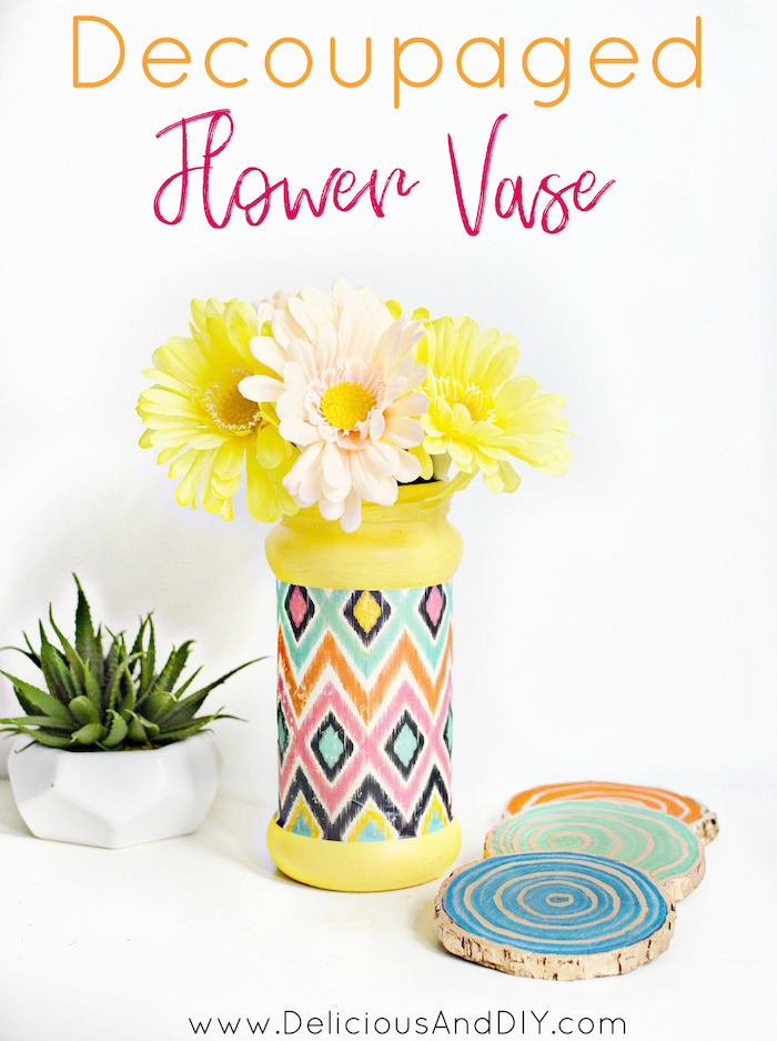 Decoupaged Flower Vase , Delicious And DIY