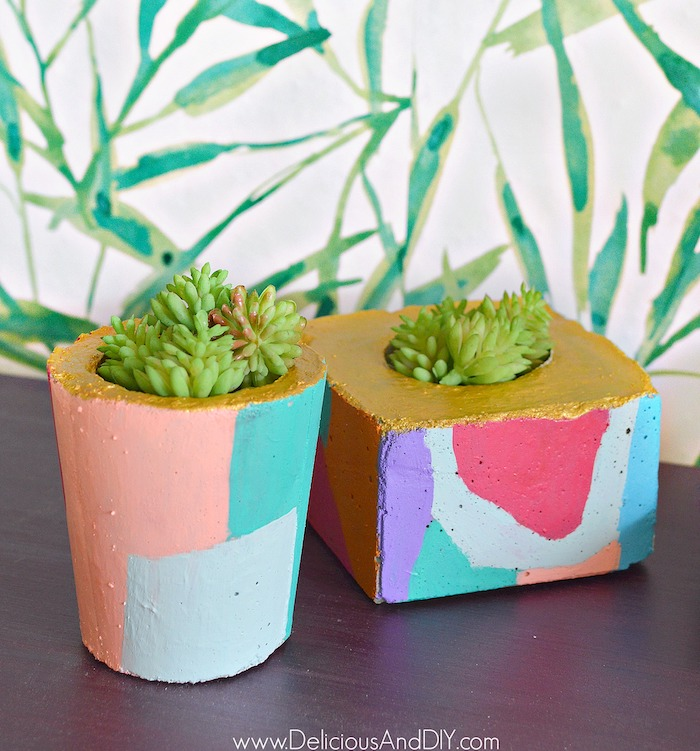 Diy Abstract Cement Planters Delicious And Diy