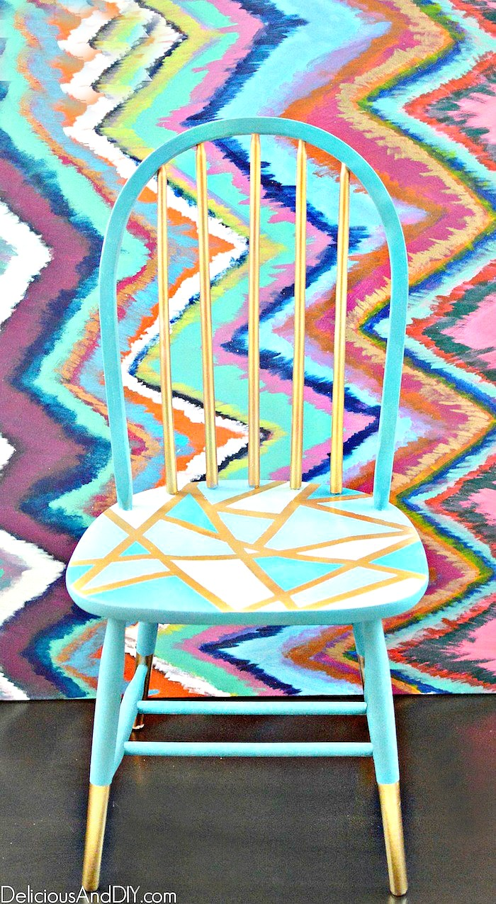 Incredible Wooden Chair Makeover Using Only Masking Tape Delicious Home Interior And Landscaping Oversignezvosmurscom
