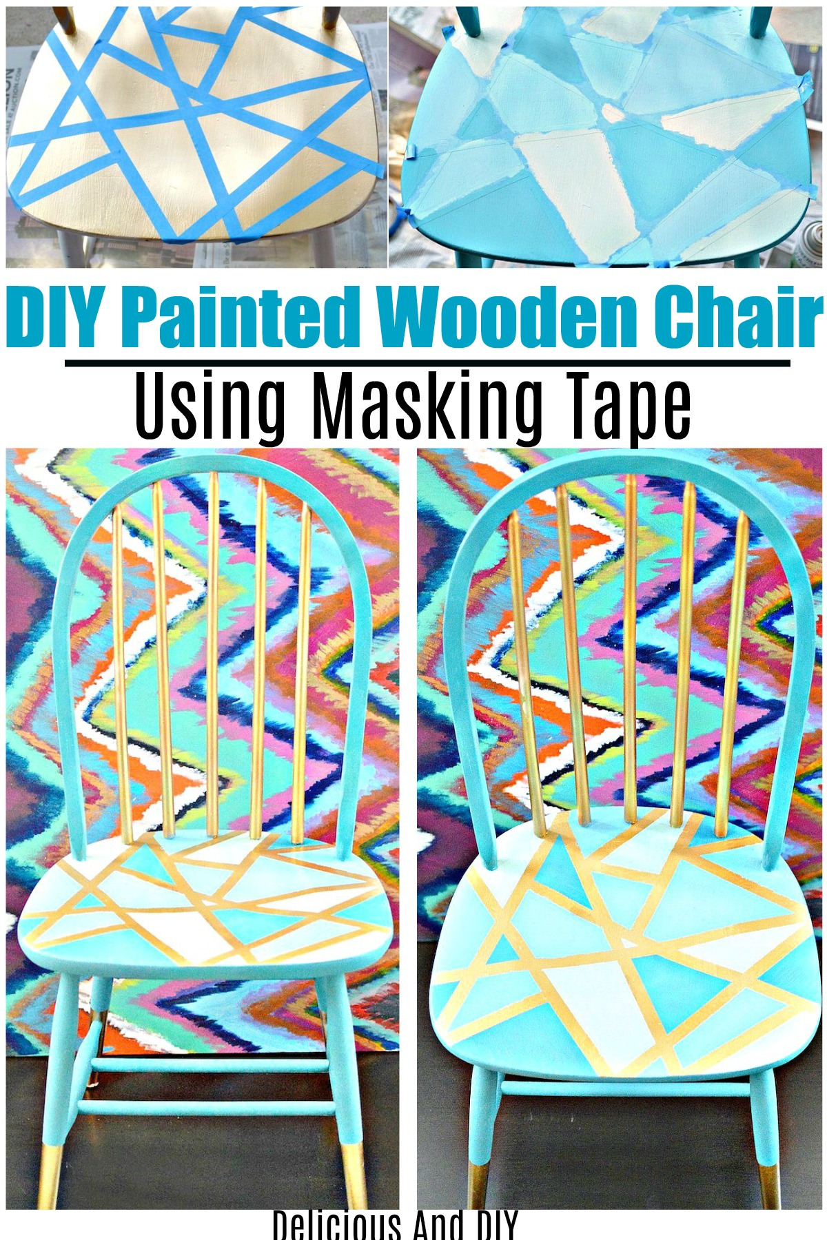 Awe Inspiring Wooden Chair Makeover Using Only Masking Tape Delicious Home Interior And Landscaping Oversignezvosmurscom