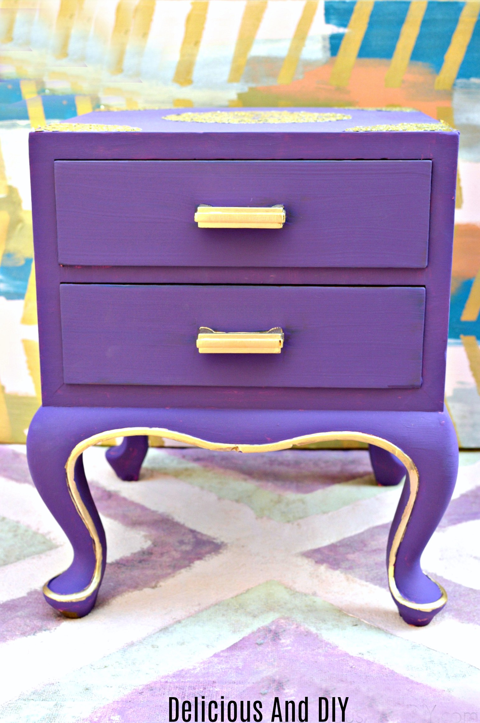 Thrifted Nightstand Makeover Using Gold Doily Delicious