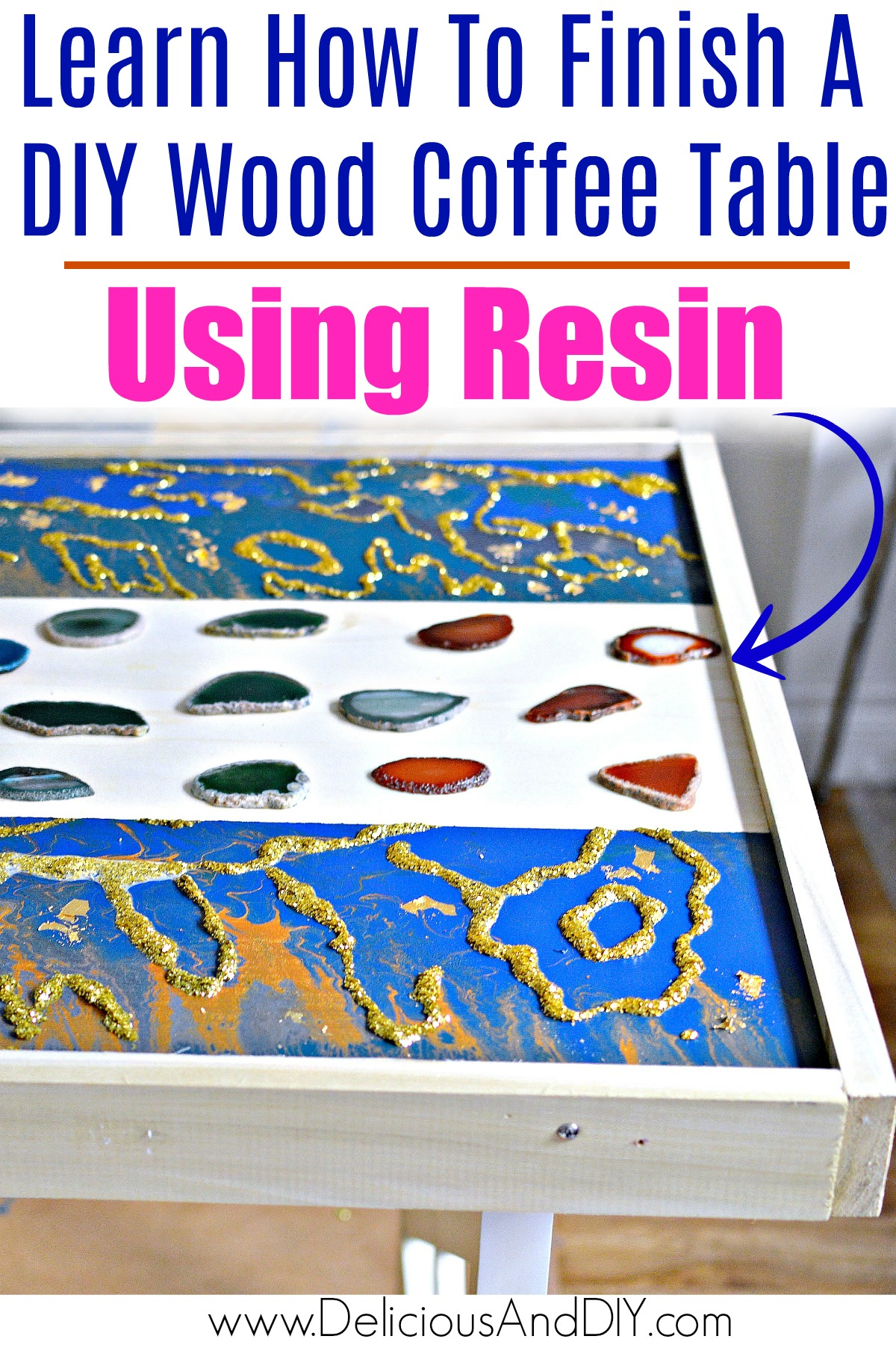 Diy Marbled Resin Wood Coffee Table Delicious And Diy